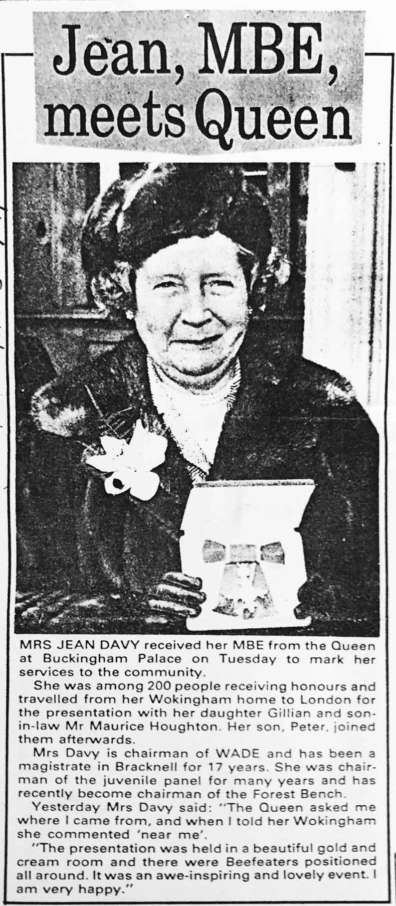 newspaper cutting of Jean Davy